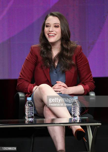 Actress Kat Dennings speaks during the '2 Broke Girls' panel during the CBS portion of the 2011 Summer TCA Tour held at the Beverly Hilton Hotel on...