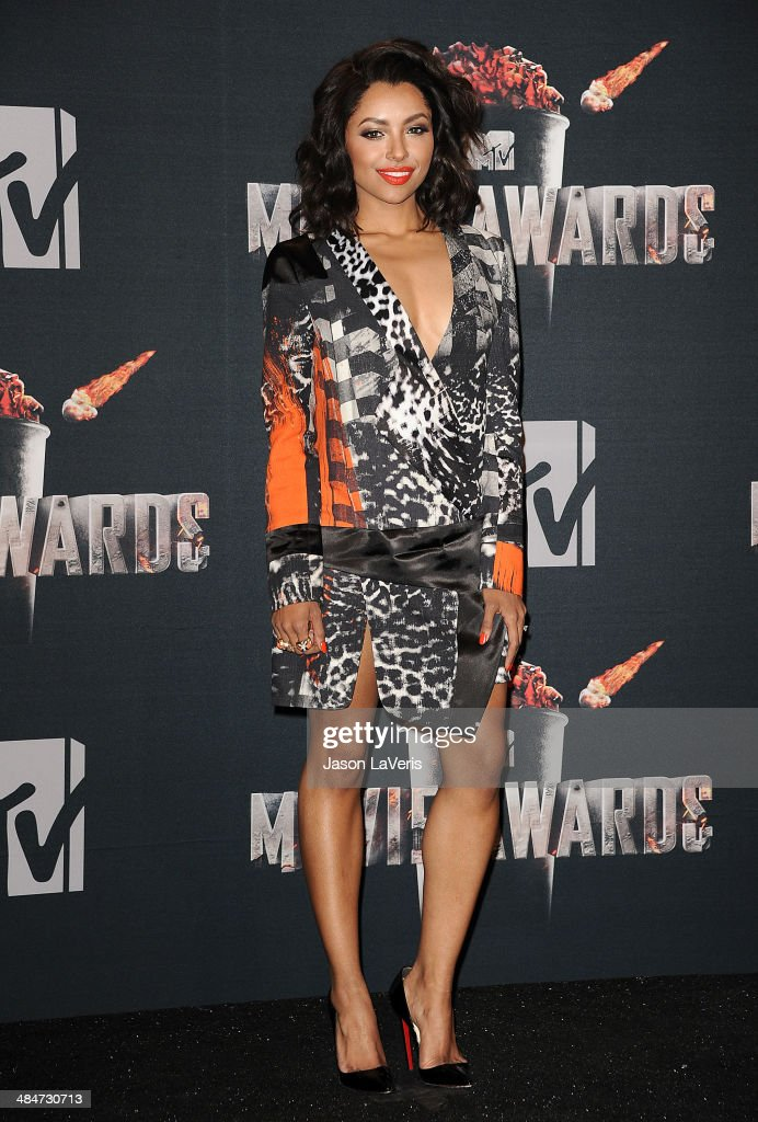 Actress Kat Graham poses in the press room at the 2014 MTV Movie Awards at Nokia Theatre L.A. Live on April 13, 2014 in Los Angeles, California.