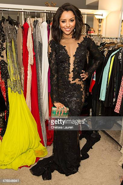 Actress Kat Graham prepares for Oscar weekend in a Nicholas Jebran Dress Le Silla shoes and Atelier Strut clutch and Neil Lane Jewelry on March 2...