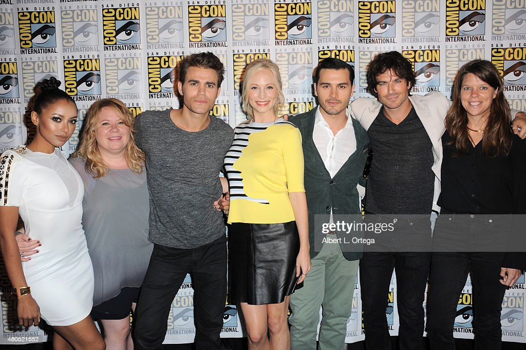 Actress Kat Graham, producer Julie Plec, actor Paul Wesley, actress Candice Accola, actor Michael Malarkey, actor Ian Somerhalder and producer Caroline Dries attend the 'The Vampire Diaries' panel during Comic-Con International 2015 at the San Diego Convention Center on July 12, 2015 in San Diego, California.