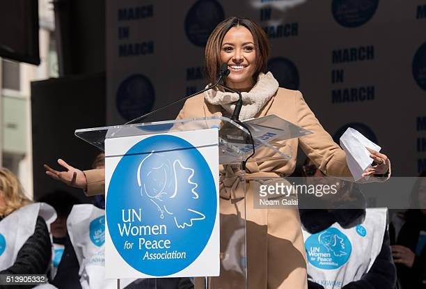 Actress Kat Graham speaks at 'March to End Violence Against Women' hosted by UN Women For Peace Association on March 5 2016 in New York City