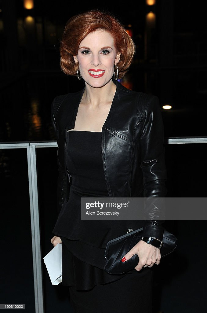 Actress <a gi-track='captionPersonalityLinkClicked' href=/galleries/search?phrase=Kat+Kramer&family=editorial&specificpeople=236074 ng-click='$event.stopPropagation()'>Kat Kramer</a> arrives at the 'Enter Laughing, The Musical' staged reading and benefit at Mark Taper Forum on January 28, 2013 in Los Angeles, California.