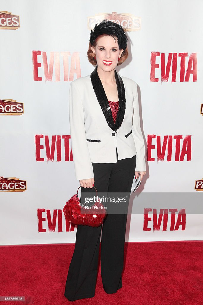 Actress Kat Kramer attends the 'Evita' Los Angeles opening night at the Pantages Theatre on October 24, 2013 in Hollywood, California.