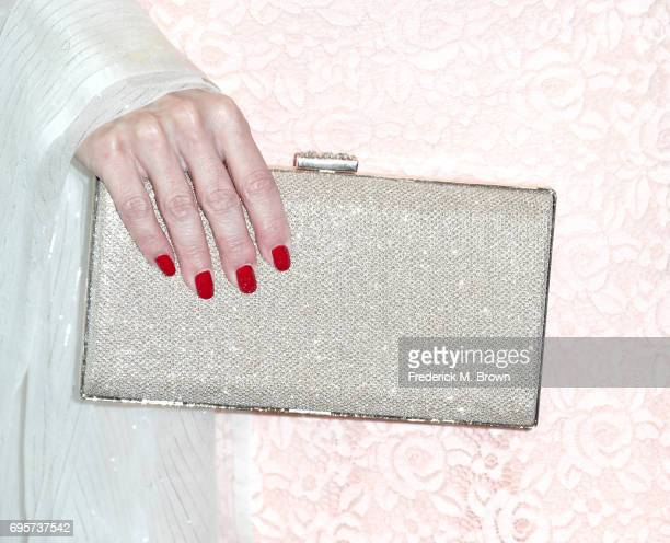 Actress Kat Kramer purse detail attends the Women In Film 2017 Crystal Lucy Awards presented By Max Mara and BMW at The Beverly Hilton Hotel on June...