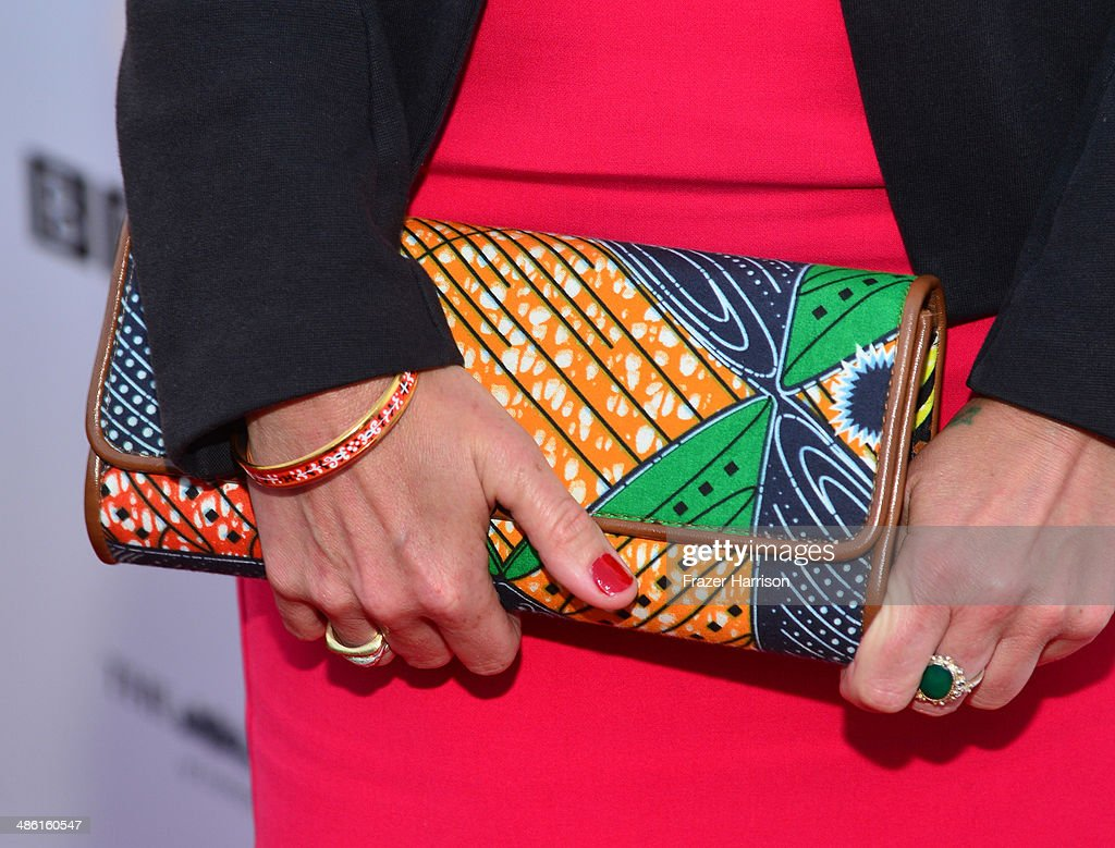 Actress Kate Ashfield (handbag detail) attends the 8th Annual BritWeek Launch Party at a private residence on April 22, 2014 in Los Angeles, California.