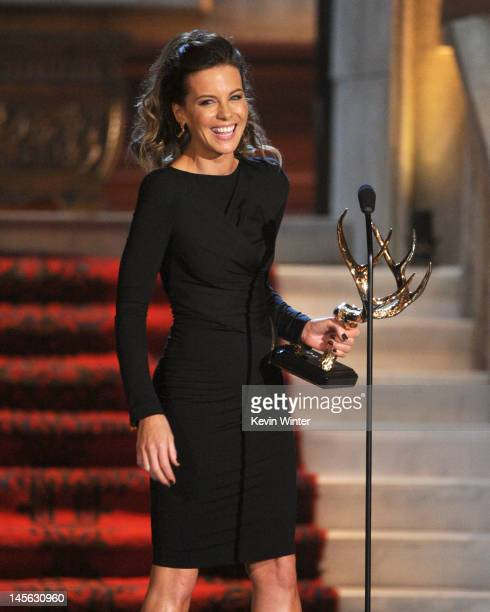 Actress Kate Beckinsale accepts the award for JeanClaude Gahd Dam onstage during Spike TV's 6th Annual 'Guys Choice Awards' at Sony Pictures Studios...