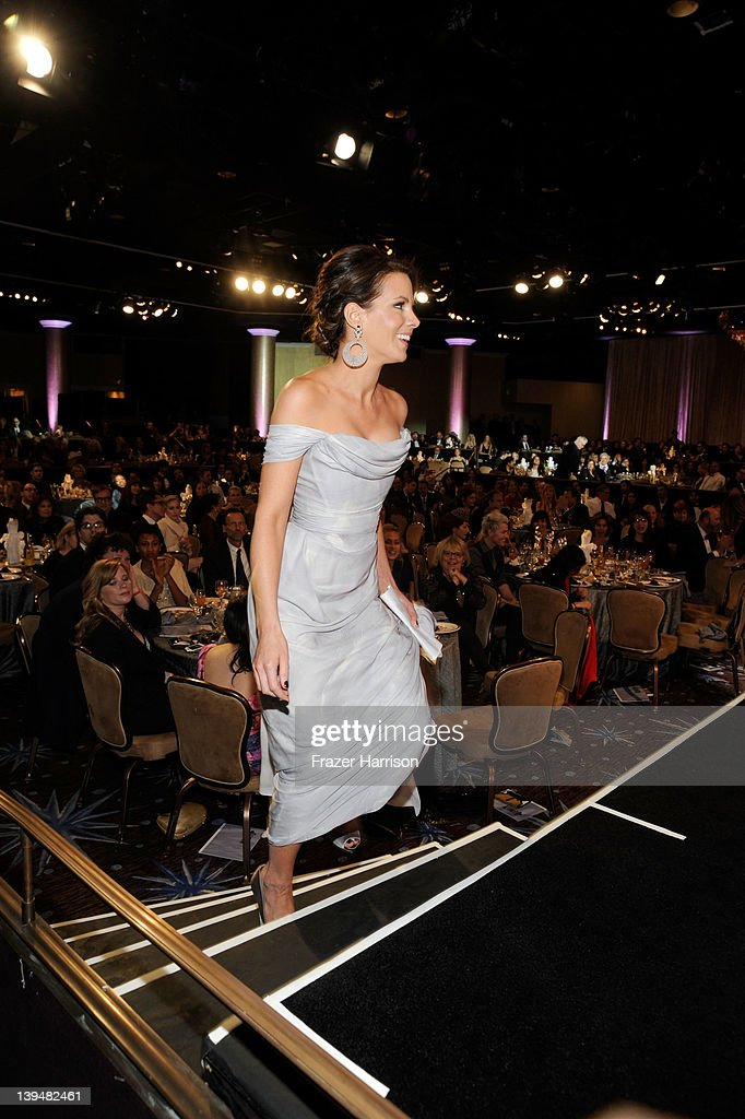 Actress <a gi-track='captionPersonalityLinkClicked' href=/galleries/search?phrase=Kate+Beckinsale&family=editorial&specificpeople=202911 ng-click='$event.stopPropagation()'>Kate Beckinsale</a> accepts the Lacoste Spolight Award during the 14th Annual Costume Designers Guild Awards With Presenting Sponsor Lacoste held at The Beverly Hilton hotel on February 21, 2012 in Beverly Hills, California.
