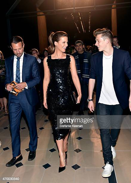 Actress Kate Beckinsale and Brooklyn Beckham attend the Burberry 'London in Los Angeles' event at Griffith Observatory on April 16 2015 in Los...