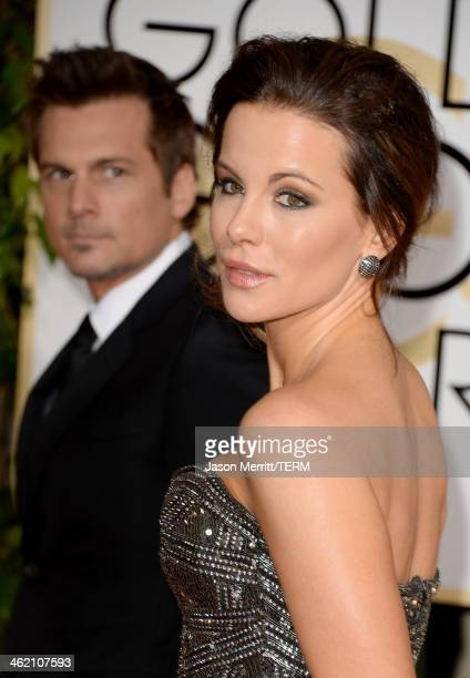 Actress Kate Beckinsale and Director Len Wiseman attend the 71st Annual Golden Globe Awards held at The Beverly Hilton Hotel on January 12 2014 in...