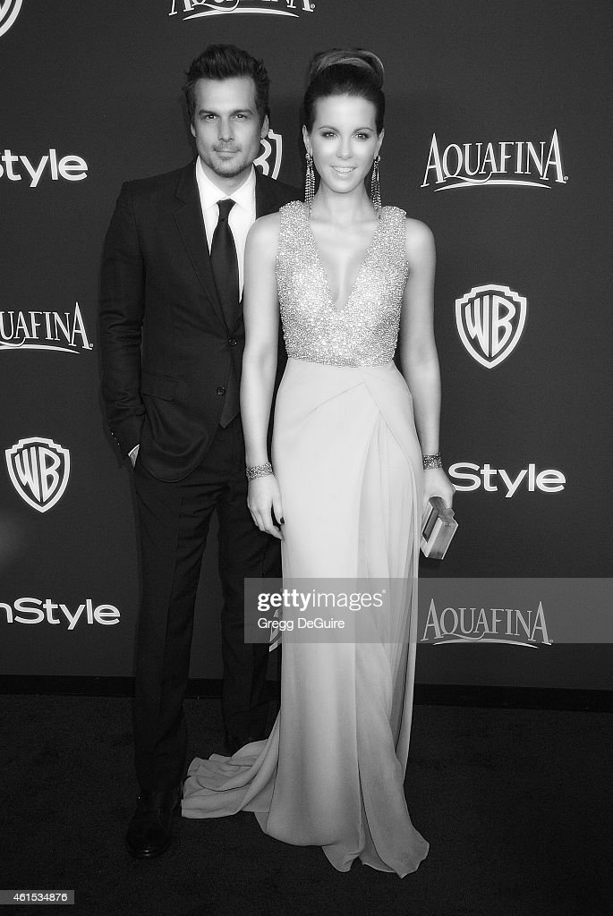 Actress Kate Beckinsale and husband Len Wiseman arrive at the 16th Annual Warner Bros. And InStyle Post-Golden Globe Party at The Beverly Hilton Hotel on January 11, 2015 in Beverly Hills, California.