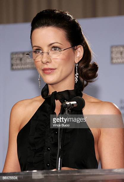 Actress Kate Beckinsale annouces the nominations for the 63rd Annual Golden Globe Awards at the Beverly Hilton Hotel on December 13 2005 in Beverly...
