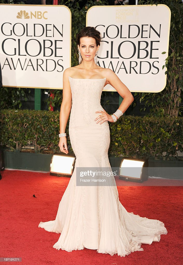 Actress Kate Beckinsale arrives at the 69th Annual Golden Globe Awards held at the Beverly Hilton Hotel on January 15 2012 in Beverly Hills California