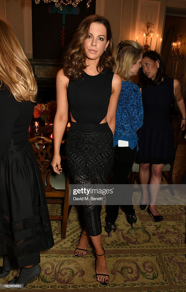 Actress Kate Beckinsale attends The Academy Of Motion Pictures Arts & Sciences new members reception hosted by Ambassador Matthew Barzun and Mrs Brooke Barzun at the American Ambassadors Residence, Winfield House, Regents Park on October 14, 2015 in London, England.