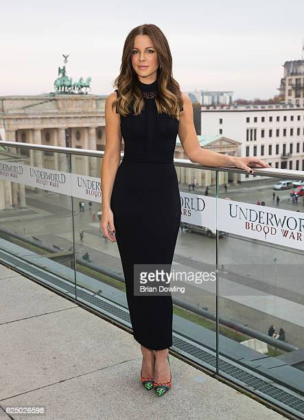 Actress Kate Beckinsale attends the Berlin to photocall for 'Underworld Blood Wars' wearing a dress by Elie Saab on the terrace at Akademie der...