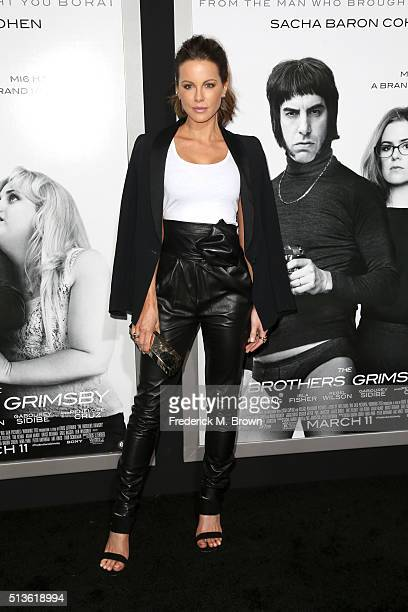 Actress Kate Beckinsale attends the premiere of Columbia Pictures and Village Roadshow Pictures 'The Brothers Grimsby' at Regency Village Theatre on...