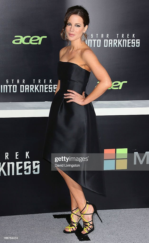 Actress <a gi-track='captionPersonalityLinkClicked' href=/galleries/search?phrase=Kate+Beckinsale&family=editorial&specificpeople=202911 ng-click='$event.stopPropagation()'>Kate Beckinsale</a> attends the premiere of Paramount Pictures' 'Star Trek Into Darkness' at the Dolby Theatre on May 14, 2013 in Hollywood, California.