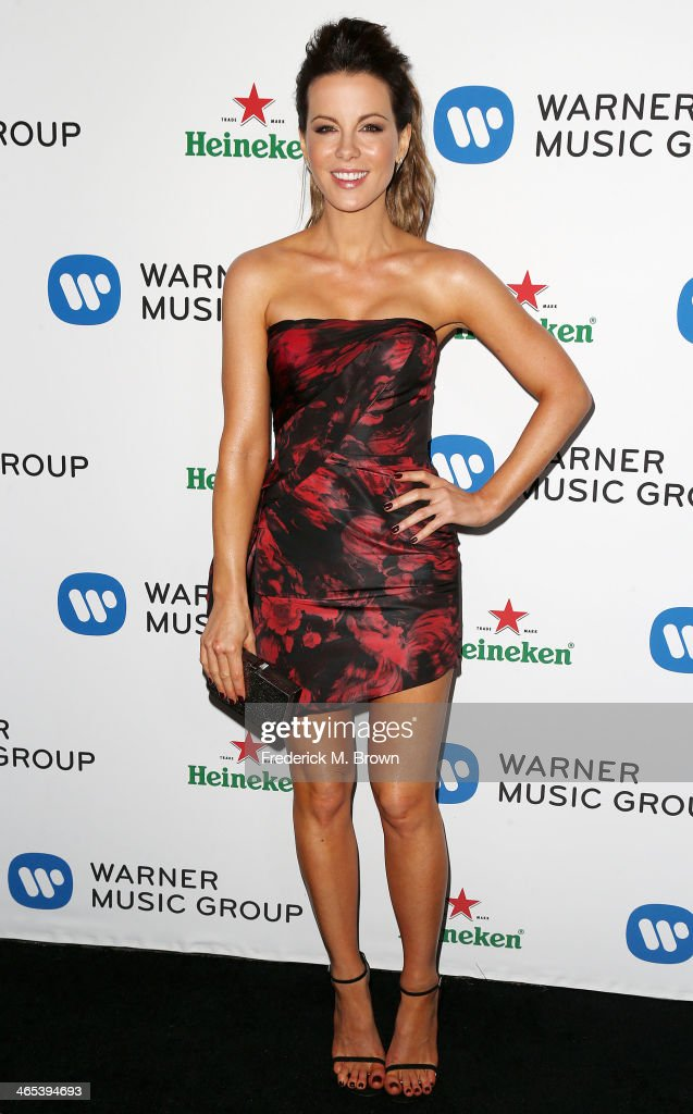 Actress <a gi-track='captionPersonalityLinkClicked' href=/galleries/search?phrase=Kate+Beckinsale&family=editorial&specificpeople=202911 ng-click='$event.stopPropagation()'>Kate Beckinsale</a> attends Warner Music Group Hosts Annual Grammy Celebration at the Sunset Tower Hotel on January 26, 2014 in West Hollywood, California.
