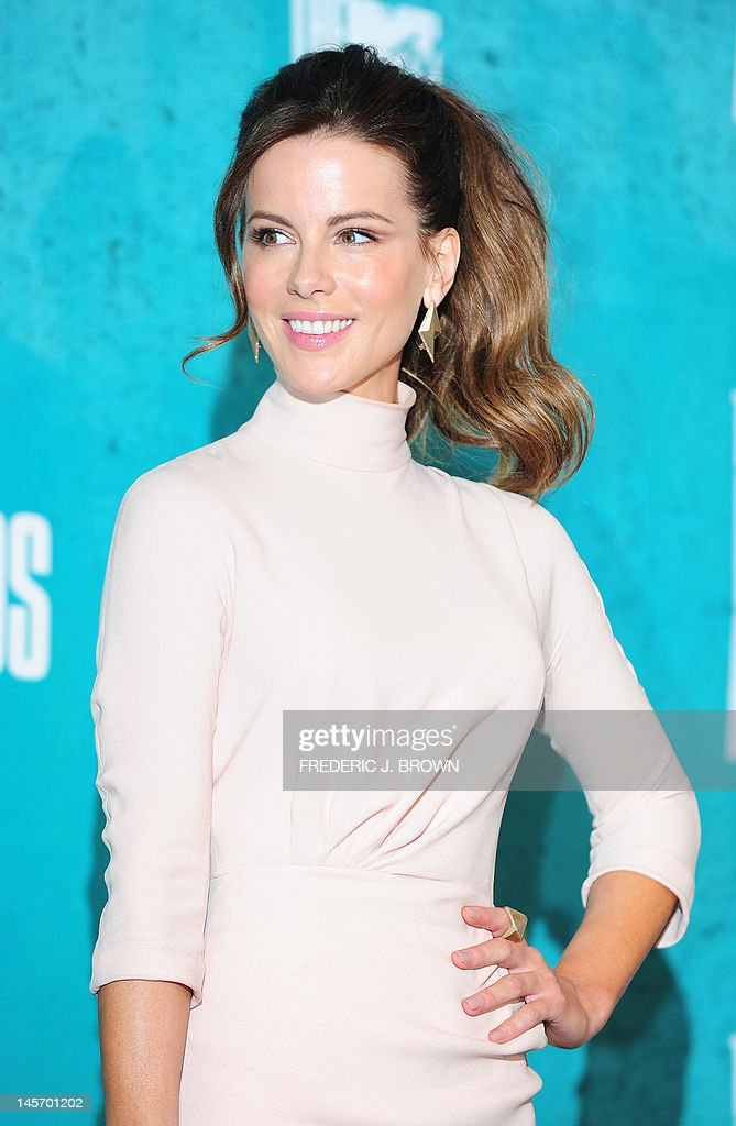 Actress Kate Beckinsale poses in the press room at the MTV Movie Awards at Universal Studios, in Los Angeles, California, on June 3, 2012.