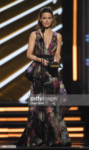 Actress Kate Beckinsale presents an award during the 2017 Billboard Music Awards at TMobile Arena on May 21 2017 in Las Vegas Nevada