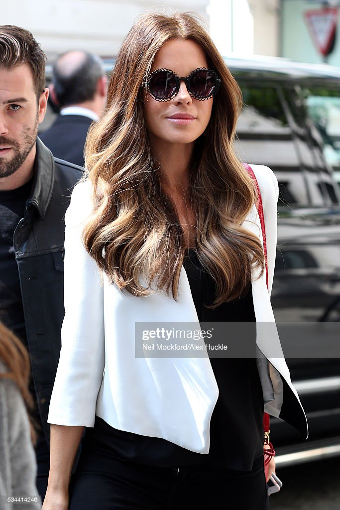 Actress <a gi-track='captionPersonalityLinkClicked' href=/galleries/search?phrase=Kate+Beckinsale&family=editorial&specificpeople=202911 ng-click='$event.stopPropagation()'>Kate Beckinsale</a> seen arriving the BBC Radio 2 Studios on May 26, 2016 in London, England.