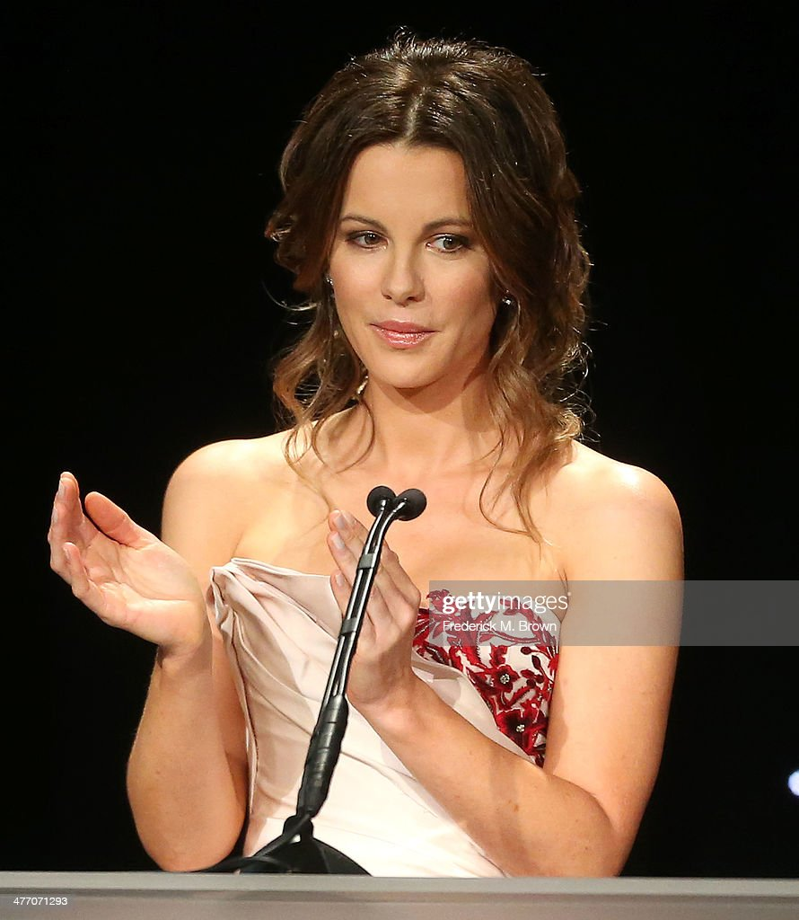 Actress <a gi-track='captionPersonalityLinkClicked' href=/galleries/search?phrase=Kate+Beckinsale&family=editorial&specificpeople=202911 ng-click='$event.stopPropagation()'>Kate Beckinsale</a> speaks during the United States Holocaust Memorial Museum Presents '2014 Los Angeles Dinner: What You Do Matters' at The Beverly Hilton Hotel on March 6, 2014 in Beverly Hills, California.