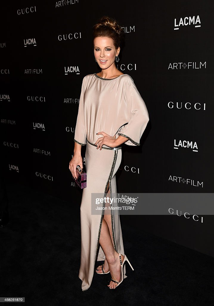 Actress <a gi-track='captionPersonalityLinkClicked' href=/galleries/search?phrase=Kate+Beckinsale&family=editorial&specificpeople=202911 ng-click='$event.stopPropagation()'>Kate Beckinsale</a>, wearing Gucci, attends the 2014 LACMA Art + Film Gala honoring Barbara Kruger and Quentin Tarantino presented by Gucci at LACMA on November 1, 2014 in Los Angeles, California.