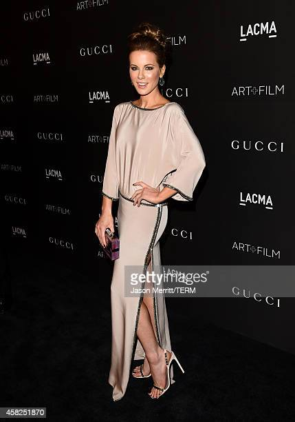 Actress Kate Beckinsale wearing Gucci attends the 2014 LACMA Art Film Gala honoring Barbara Kruger and Quentin Tarantino presented by Gucci at LACMA...