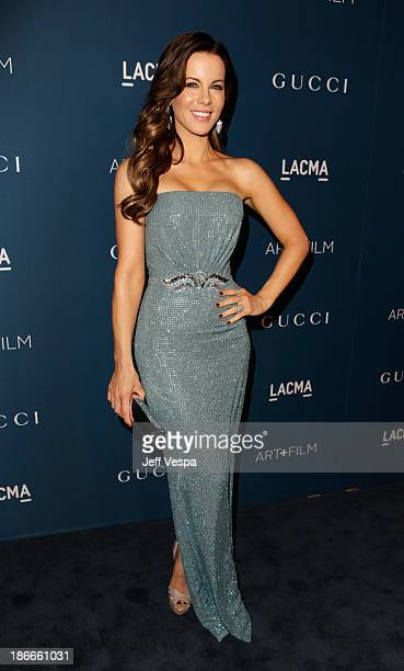 Actress Kate Beckinsale wearing Gucci attends the LACMA 2013 Art Film Gala honoring Martin Scorsese and David Hockney presented by Gucci at LACMA on...