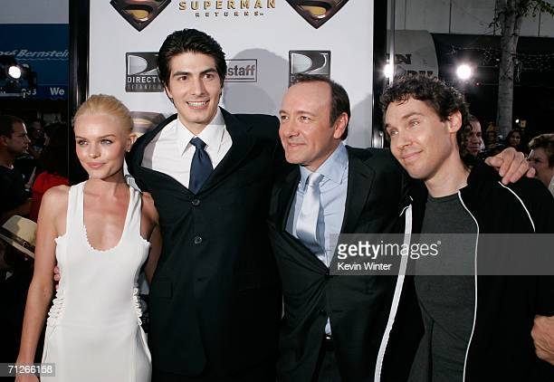 Actress Kate Bosworth actors Brandon Routh Kevin Spacey and Director Bryan Singer arrive at the Warner Bros premiere of 'Superman Returns' held at...