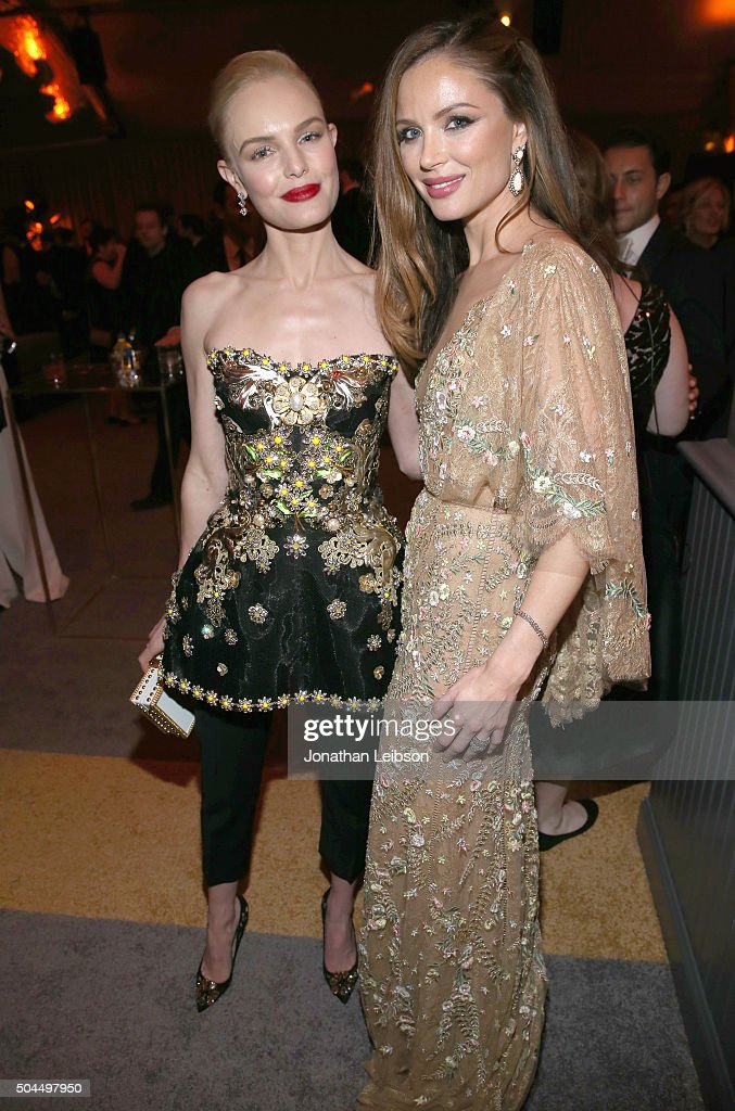 Actress Kate Bosworth (L) and designer Georgina Chapman attend The Weinstein Company and Netflix Golden Globe Party, presented with DeLeon Tequila, Laura Mercier, Lindt Chocolate, Marie Claire and Hearts On Fire at The Beverly Hilton Hotel on January 10, 2016 in Beverly Hills, California.
