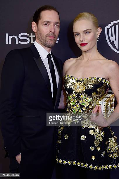 Actress Kate Bosworth and Michael Polish attend InStyle and Warner Bros 73rd Annual Golden Globe Awards PostParty at The Beverly Hilton Hotel on...