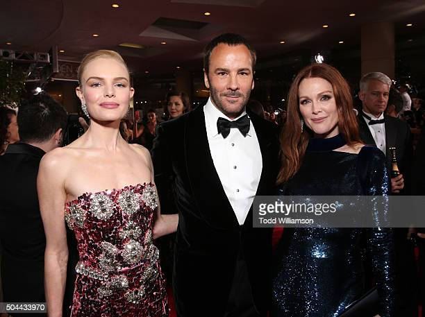 Actress Kate Bosworth designer Tom Ford and actress Julianne Moore attend the 73rd Annual Golden Globe Awards at The Beverly Hilton Hotel on January...