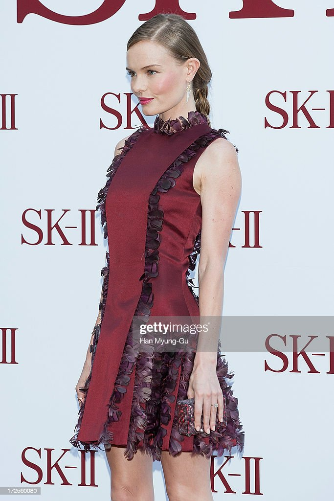 Actress <a gi-track='captionPersonalityLinkClicked' href=/galleries/search?phrase=Kate+Bosworth&family=editorial&specificpeople=201616 ng-click='$event.stopPropagation()'>Kate Bosworth</a> poses for the photogrpahs during the SK-II Honoring The Spirit Of Discovery event at the Raum on July 3, 2013 in Seoul, South Korea.