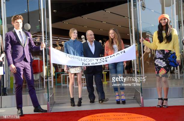 Actress Kate Bosworth proprietor Sir Philip Green and Chloe Green attend Topshop Topman LA Grand Opening at The Grove on February 14 2013 in Los...