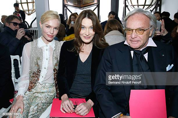 Actress Kate Bosworth Singer Carla Bruni Sarkozy and Diego Della Valle attend the Schiaparelli Haute Couture Spring Summer 2016 show as part of Paris...