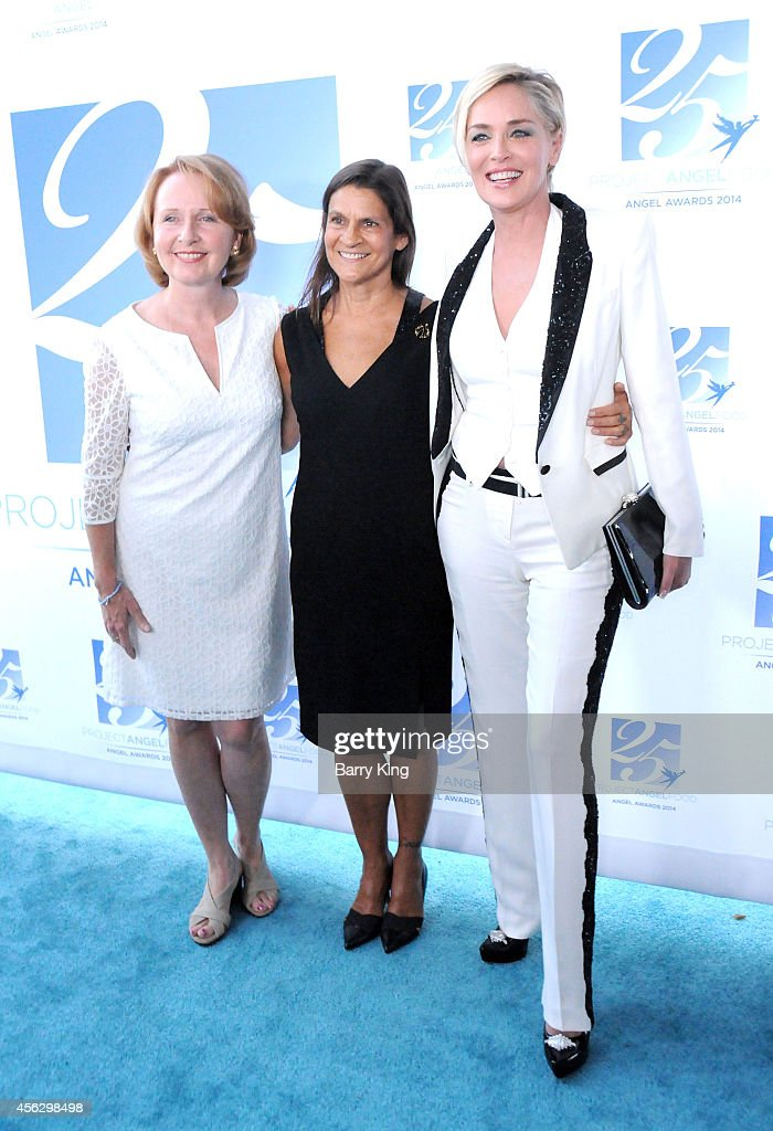 Actress Kate Burton Aileen Getty and actress Sharon Stone arrive for Project Angel Food Celebrates 25 Years With 2014 Angel Awards at Project Angel...