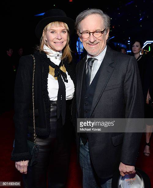 Actress Kate Capshaw and director Steven Spielberg attend the premiere of Walt Disney Pictures and Lucasfilm's 'Star Wars The Force Awakens'...