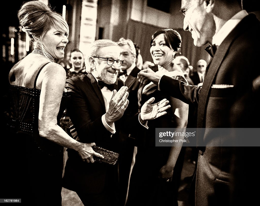 Actress Kate Capshaw, director Steven Spielberg, actor Robert De Niro and wife Grace Hightower, and actor Daniel Day-Lewis arrive at the Oscars at Hollywood & Highland Center on February 24, 2013 in Hollywood, California.