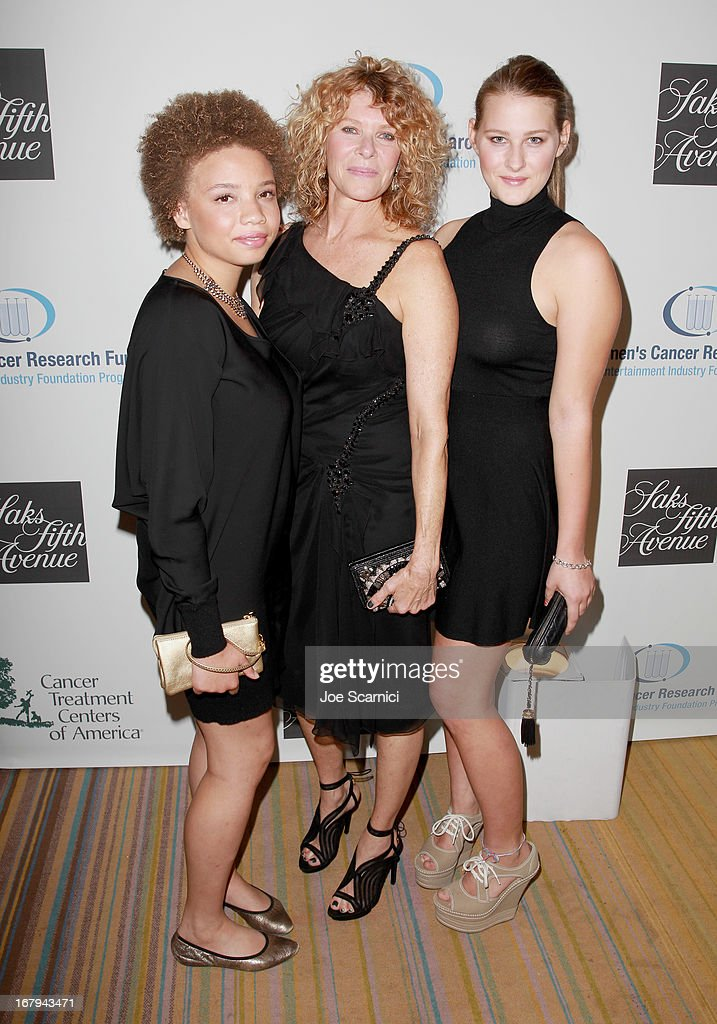 "Actress <a gi-track='captionPersonalityLinkClicked' href=/galleries/search?phrase=Kate+Capshaw&family=editorial&specificpeople=204585 ng-click='$event.stopPropagation()'>Kate Capshaw</a> wearing Carolina Herrera (C), and daughters Mikaela George Spielberg (L) and Destry Allyn Spielberg (R) attend EIF Women's Cancer Research Fund's 16th Annual ""An Unforgettable Evening"" presented by Saks Fifth Avenue at the Beverly Wilshire Four Seasons Hotel on May 2, 2013 in Beverly Hills, California."