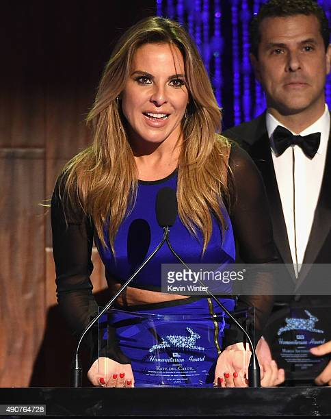 Actress Kate del Castillo accepts the PETA Latino award onstage at PETA's 35th Anniversary Party at Hollywood Palladium on September 30 2015 in Los...