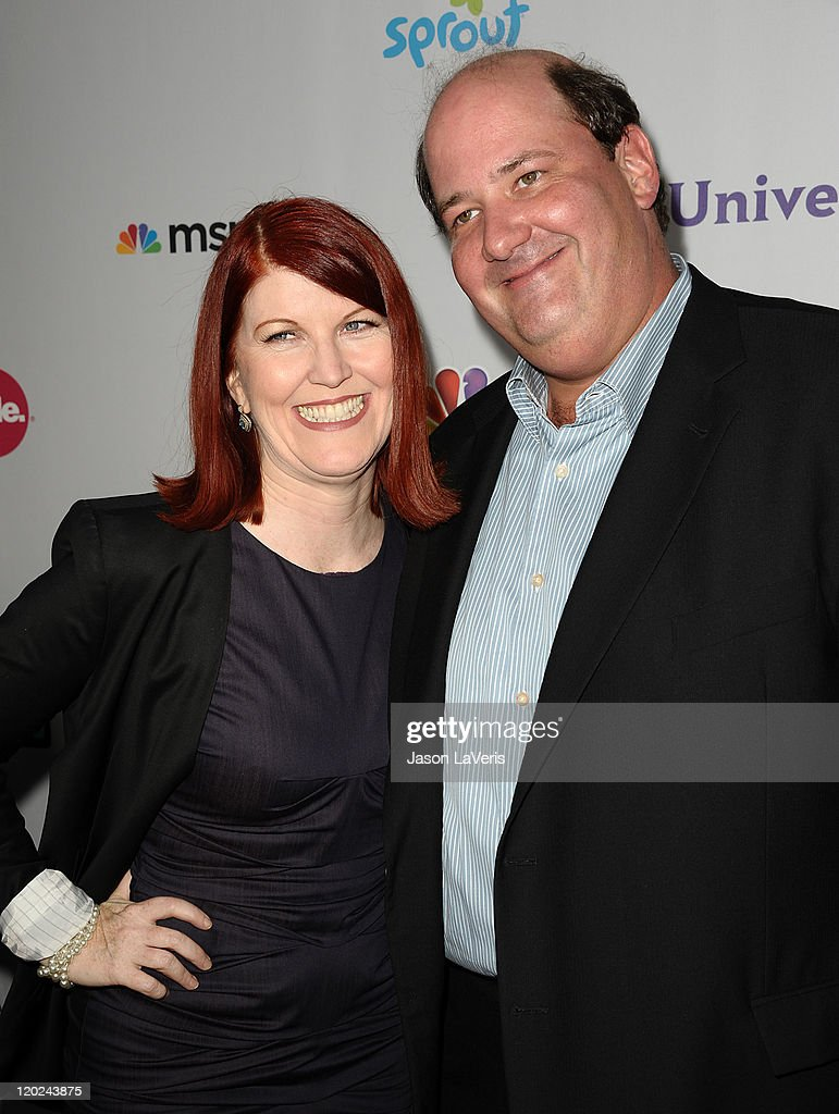 Actress <a gi-track='captionPersonalityLinkClicked' href=/galleries/search?phrase=Kate+Flannery&family=editorial&specificpeople=580714 ng-click='$event.stopPropagation()'>Kate Flannery</a> and actor <a gi-track='captionPersonalityLinkClicked' href=/galleries/search?phrase=Brian+Baumgartner&family=editorial&specificpeople=841410 ng-click='$event.stopPropagation()'>Brian Baumgartner</a> attend NBC's 2011 TCA summer press tour at The Bazaar at the SLS Hotel on August 1, 2011 in Los Angeles, California.