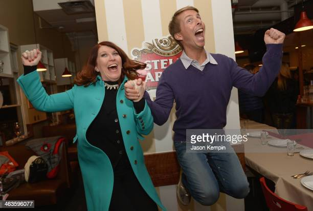Actress Kate Flannery and actor Jack McBrayer attend the Stella Artois At The Village At The Lift Day 2 2014 Park City on January 18 2014 in Park...
