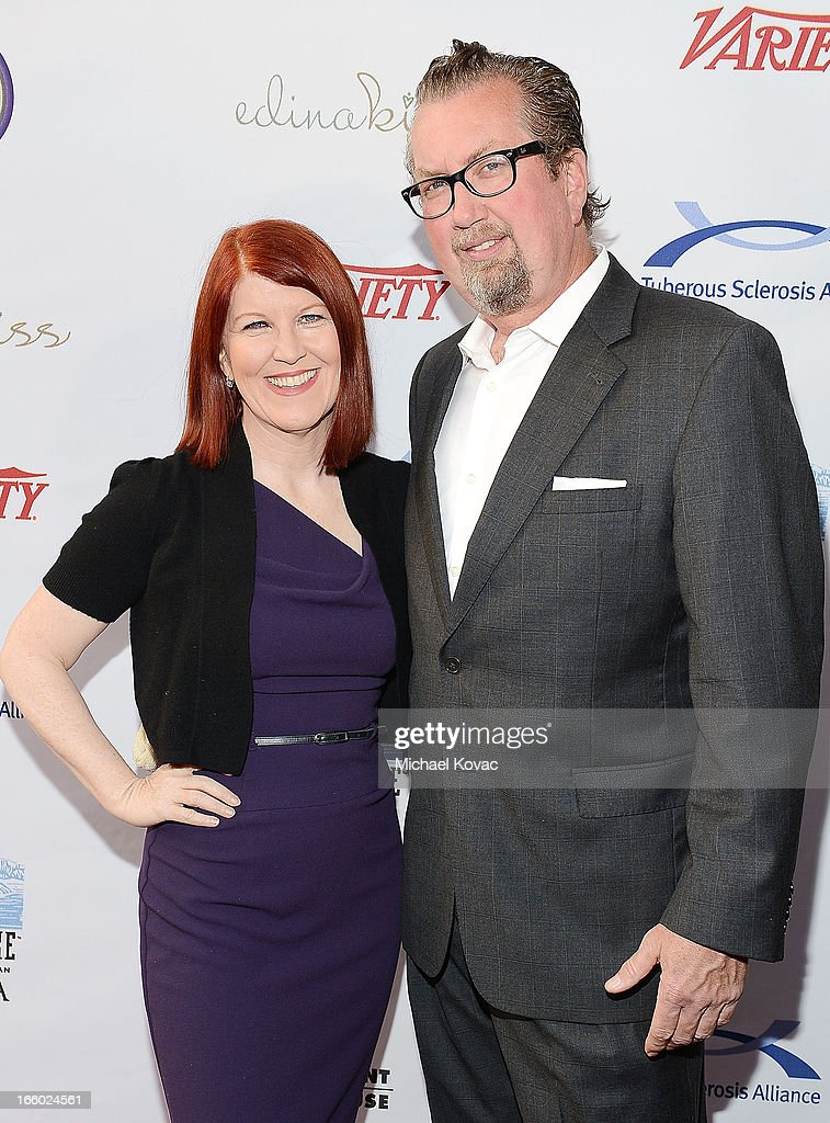 Actress <a gi-track='captionPersonalityLinkClicked' href=/galleries/search?phrase=Kate+Flannery&family=editorial&specificpeople=580714 ng-click='$event.stopPropagation()'>Kate Flannery</a> (L) and Chris Haston attend the Tuberous Sclerosis Alliance Comedy For A Cure 2013 at Lure on April 7, 2013 in Hollywood, California.