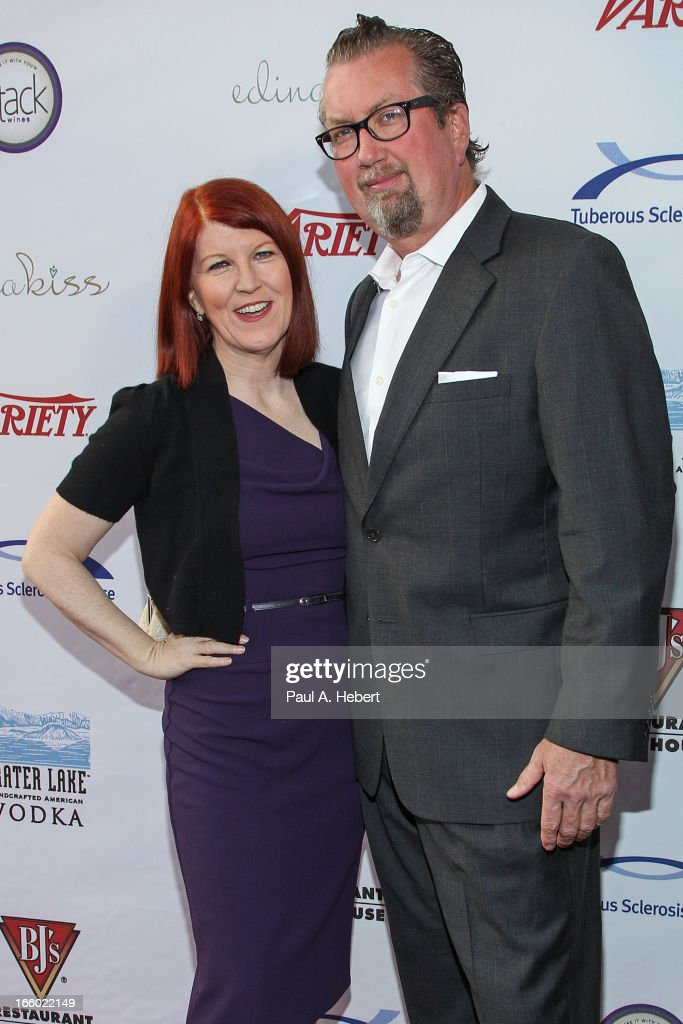 Actress <a gi-track='captionPersonalityLinkClicked' href=/galleries/search?phrase=Kate+Flannery&family=editorial&specificpeople=580714 ng-click='$event.stopPropagation()'>Kate Flannery</a> and husband Chris Haston attend the Comedy for a Cure benefit held at Lure on April 7, 2013 in Hollywood, California.