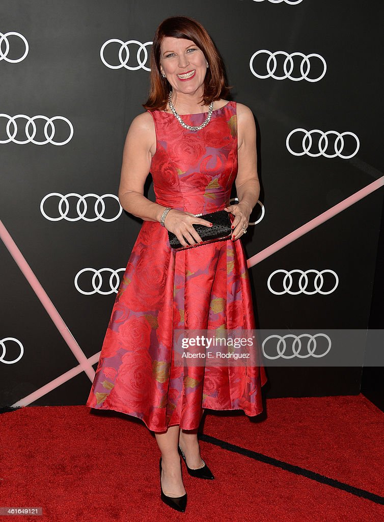 Actress <a gi-track='captionPersonalityLinkClicked' href=/galleries/search?phrase=Kate+Flannery&family=editorial&specificpeople=580714 ng-click='$event.stopPropagation()'>Kate Flannery</a> arrives to Audi Celebrates Golden Globes Weekend at Cecconi's Restaurant on January 9, 2014 in Los Angeles, California.