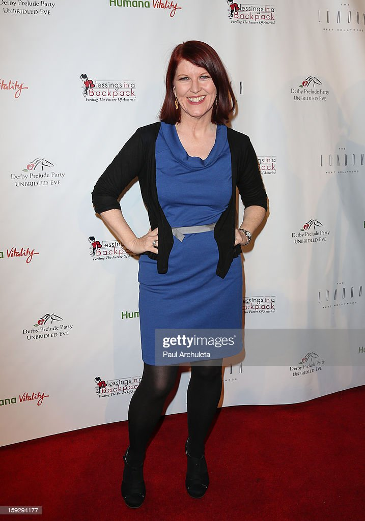 Actress <a gi-track='captionPersonalityLinkClicked' href=/galleries/search?phrase=Kate+Flannery&family=editorial&specificpeople=580714 ng-click='$event.stopPropagation()'>Kate Flannery</a> attends the Los Angeles Unbridled Derby prelude party at The London Hotel on January 10, 2013 in West Hollywood, California.