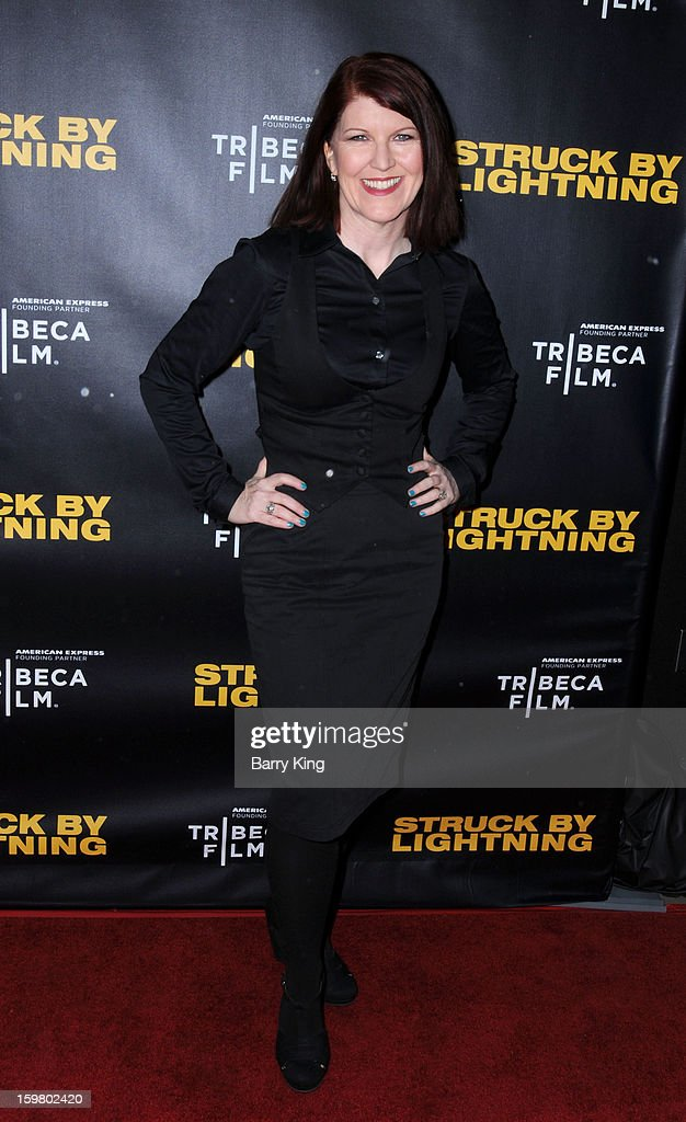 Actress <a gi-track='captionPersonalityLinkClicked' href=/galleries/search?phrase=Kate+Flannery&family=editorial&specificpeople=580714 ng-click='$event.stopPropagation()'>Kate Flannery</a> attends the 'Struck By Lightning' premiere at Mann Chinese 6 on January 6, 2013 in Los Angeles, California.