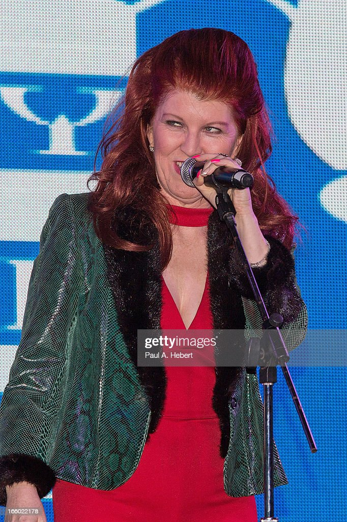 Actress Kate Flannery on stage during the Comedy for a Cure benefit held at Lure on April 7, 2013 in Hollywood, California.