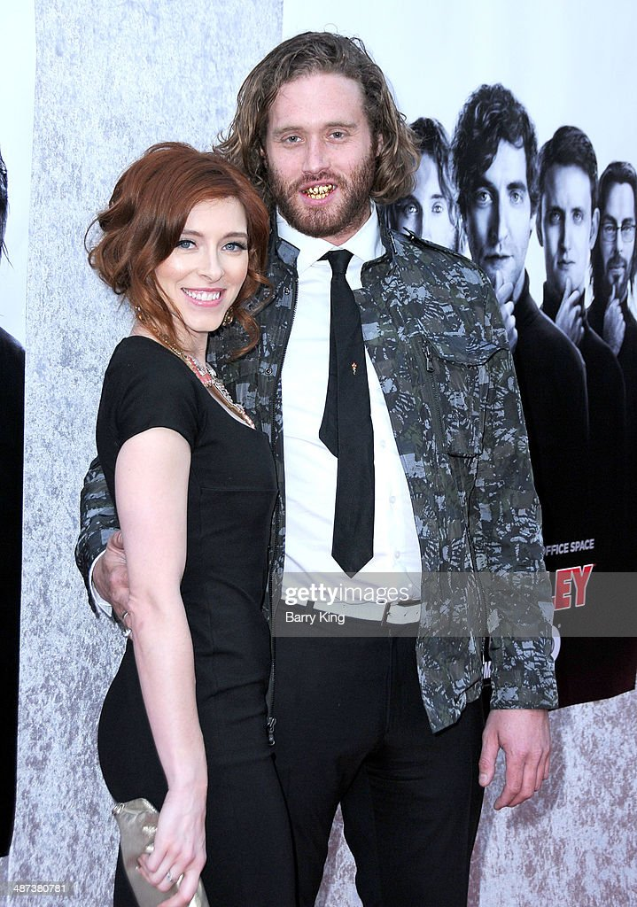 Actress Kate Gorney (L) and actor T. J. Miller (R) arrive at the premiere of 'Silicon Valley' on April 3, 2014 at Paramount Studios in Hollywood, California.