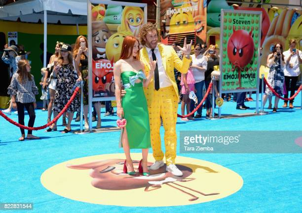 Actress Kate Gorney and actor TJ Miller attend the premiere of Columbia Pictures and Sony Pictures Animations' The Emoji Movie' at Regency Village...